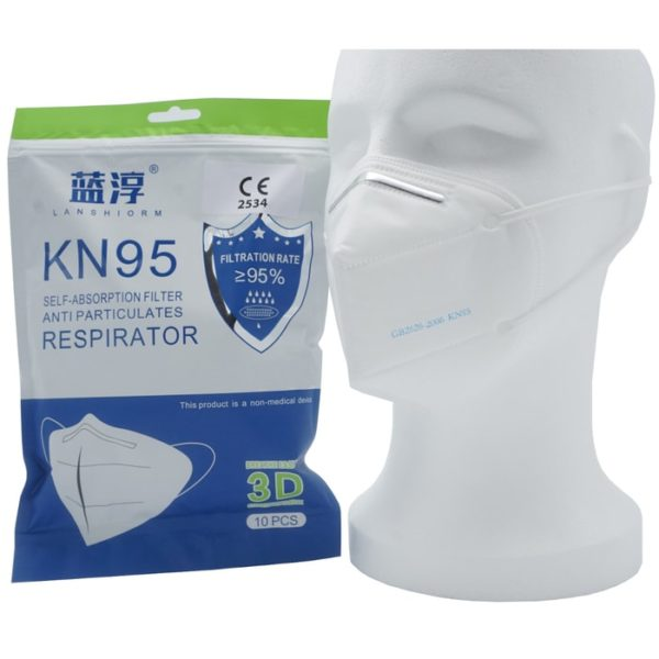 KN95 Atemschutzmaske FFP2 Äquivalent Verpackung und angezogen