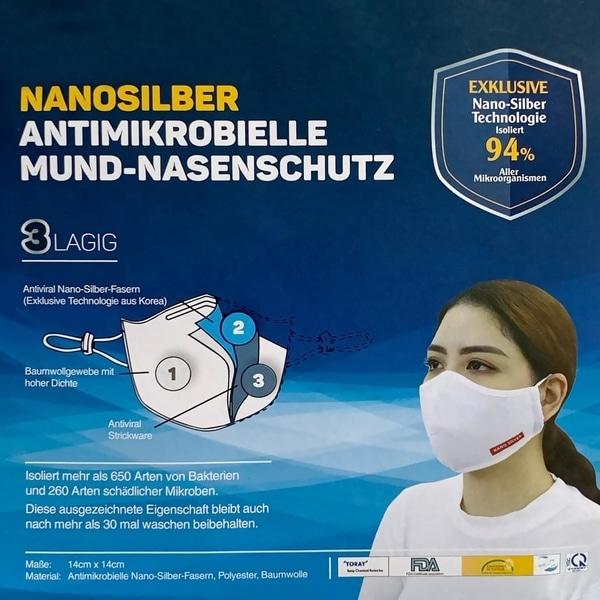 Nano Silber wiederverwendbare Atemschutzmaske 3-lagig