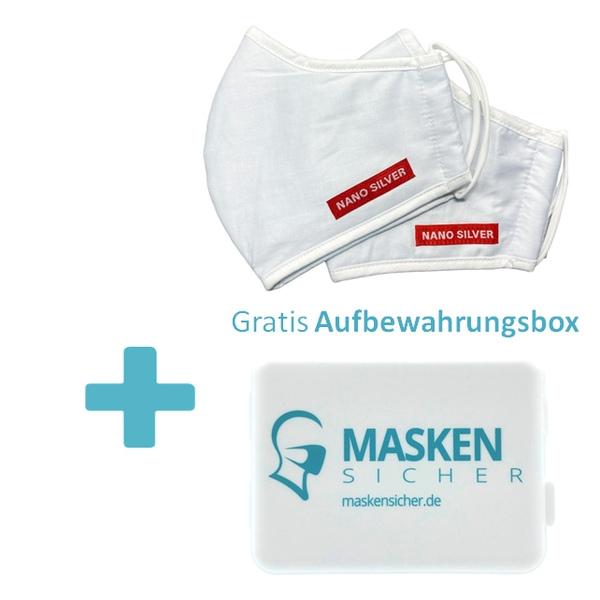 Nano Silber wiederverwendbare Maske 2er Set und gratis Box