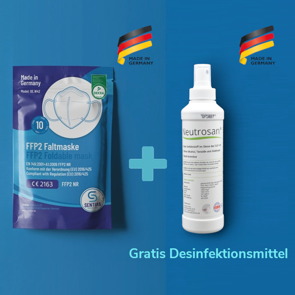 Sentias FFP2-Maske Made in Germany 10er Pack und viruzides Händedesinfektionsmittel