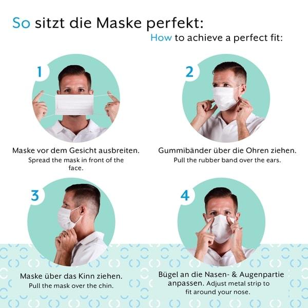 Hier zu sehen ist eine Anleitung, um die medizinische OP Maske Made in Germany richtig zu tragen