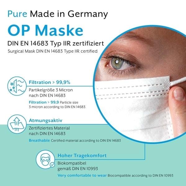 Hier zu sehen ist eine Grafik, die die Vorteile der medizinischen OP Maske Made in Germany Typ IIR von Eumepro zeigt