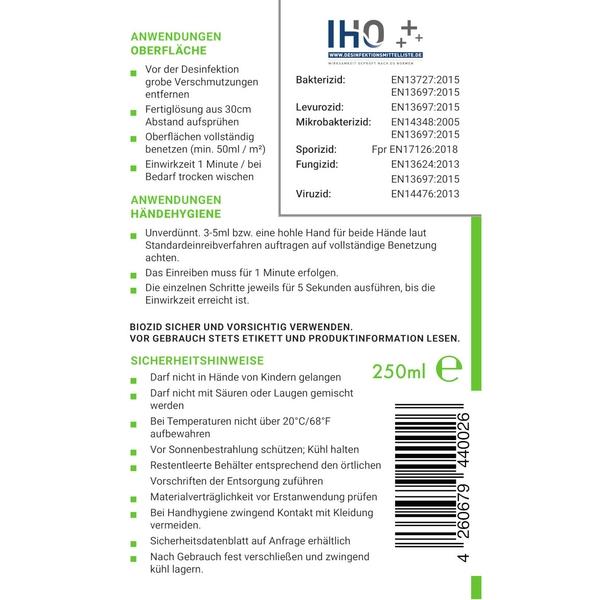 Viruzides Desinfektionsmittel Neutrosan 250ml Sprühflasche Etikett Vorderseite