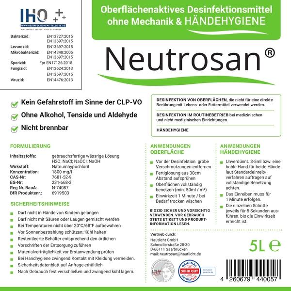 Viruzides Desinfektionsmittel Neutrosan 5L Etikett