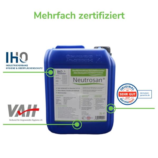 Viruzides Desinfektionsmittel Neutrosan 5L Zertifizierungen