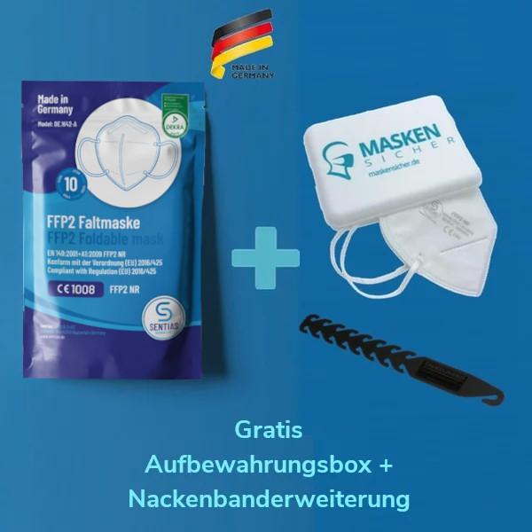 Sentias FFP2 Maske 10er Pack und gratis Aufbewahrungsbox und gratis NAckenbanderweiterung