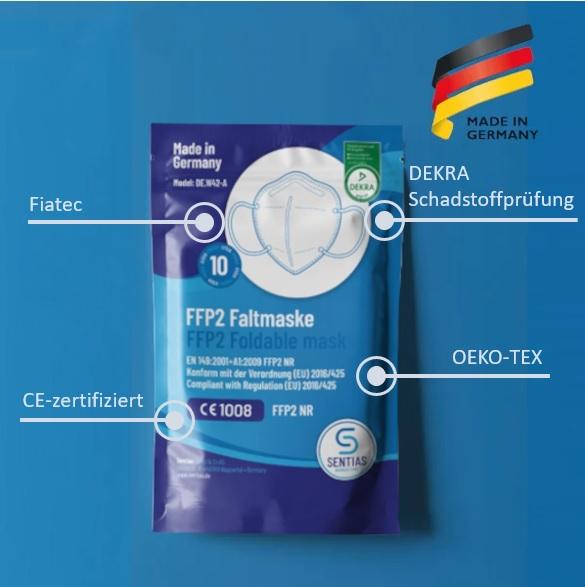 Zu sehen ist eine FFP2 Maske, auf der die einzelnen Bestandteile der CE-Kennzeichnung erkennbar sind.