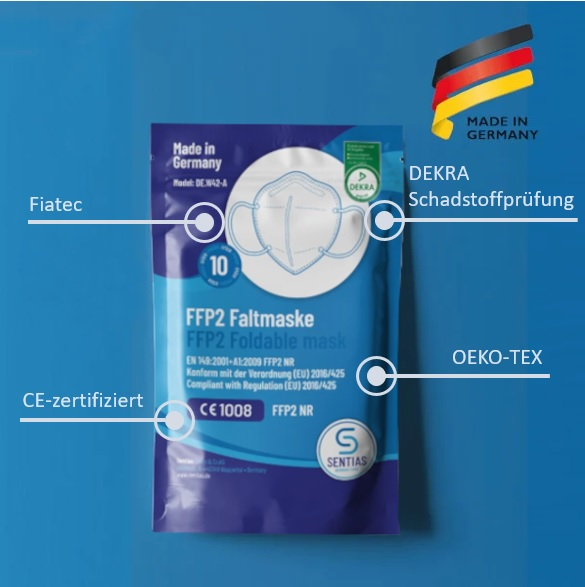 FFP2 Maske Made in Germany mehrfach geprüft